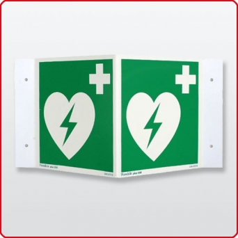 Winkelschild AED Defibrillator 20 x 20 cm